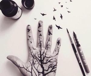 art, hand, and bird image