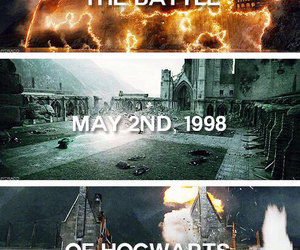 harry potter, hogwarts, and battle image