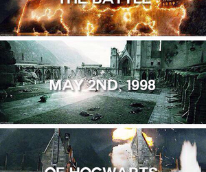 harry potter, hogwarts, and battle image