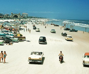 beach, cars, and old image