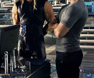 thor, chris evans, and chris hemsworth image