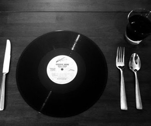 music, black and white, and vinyl image