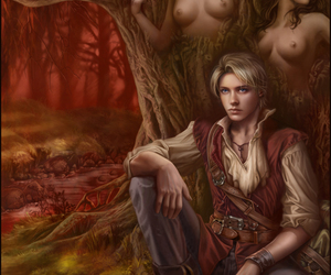 fantasy, tree, and scarlet image