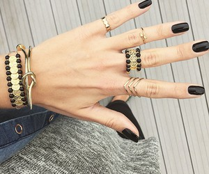 balck, jewerly, and fashion image