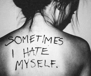 hate, black and white, and depression image