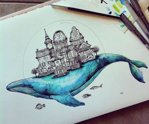 drawing, whale, and art image