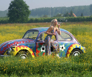car, hippie, and flowers image