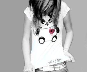 girl, panda, and heart image