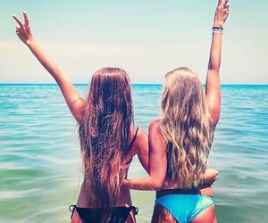 beach, best friends, and brunnette image