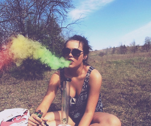 girl, smoke, and weed image