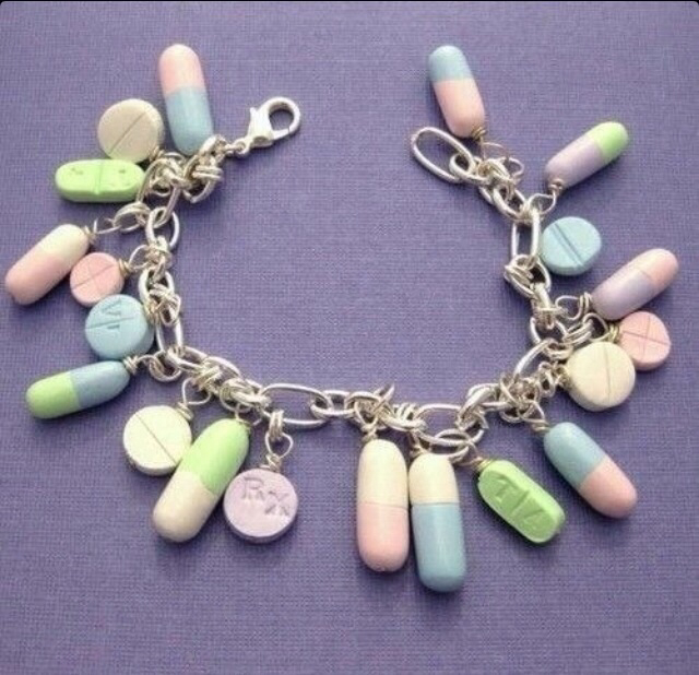 pills, bracelet, and drugs image