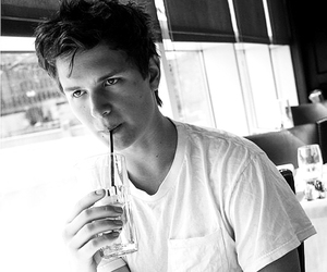 ansel elgort and black and white image