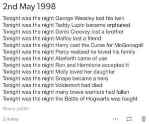 today, battle of hogwarts, and 2 may 1998 image