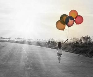 balloons, girl, and bw image