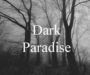 dark, paradise, and black and white image