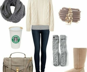 outfit, starbucks, and winter image