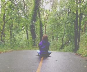 forest, girl, and sitting image