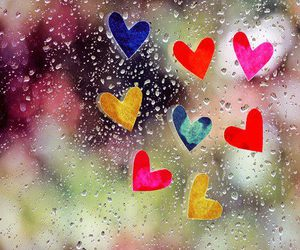 hearts, rain, and heart image