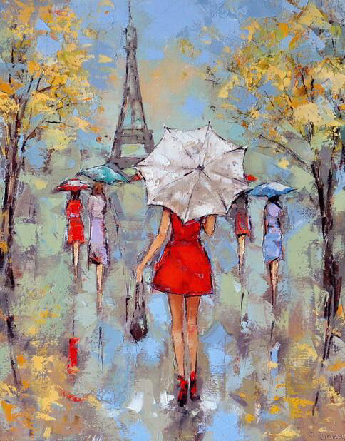 Wallpapers Paris Love Eiffel Tower Lady In Red Dress And Umbrella Art