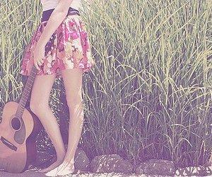 guitar, girl, and skirt image