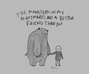 black and white, monster, and friendship image