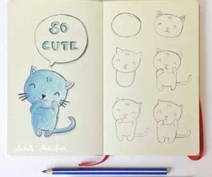 drawing, cat, and draw image