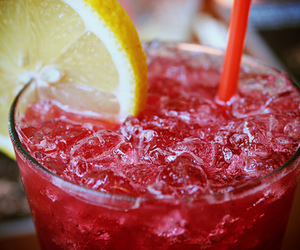 drink, lemon, and red image