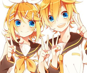 vocaloid, twins, and rin image