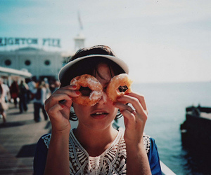girl, vintage, and donuts image