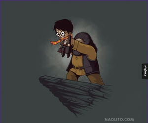dumbledore, hagrid, and harry potter image