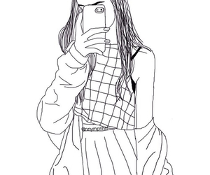 girl, outline, and black image