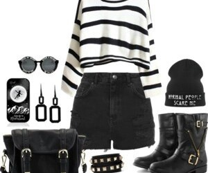black, outfit, and white image