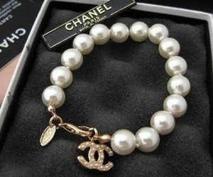 chanel, bracelet, and pearls image