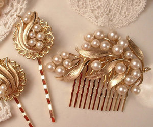 comb, pearls, and hair image