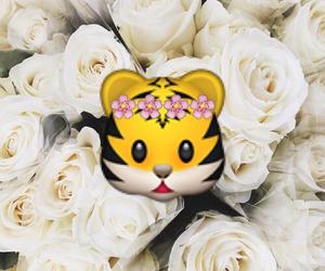 emoji, flowers, and tiger image