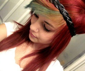 girl, red hair, and green hair image