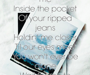 Lyrics, photograph, and quote image