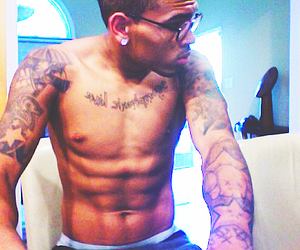 chris brown, tattoo, and sexy image