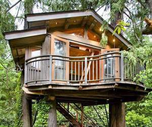 architecture, house, and treehouse image