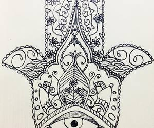 art, drawing, and hamsa image