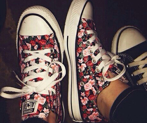 converse, flowers, and shoes image