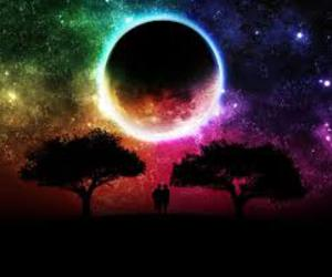 moon, tree, and couple image
