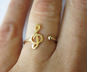 ring, music, and gold image