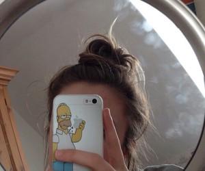 girl, iphone, and bun image