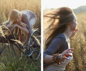bike, hair, and field image