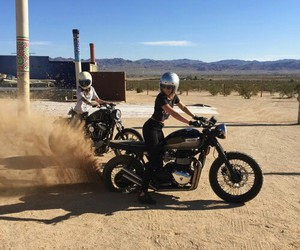 cafe racer, motorcycle, and burn out image
