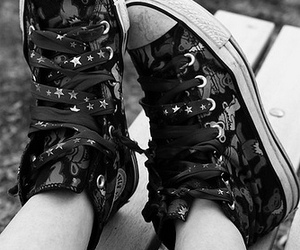 black and white, photography, and shoes image