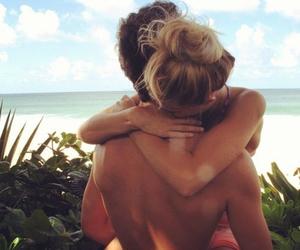 beach, hug, and sun image
