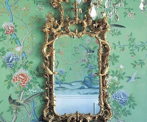 mirror, vintage, and green image