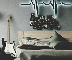 bedroom, guitar, and room image
